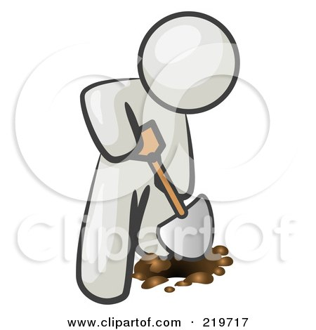 Royalty-Free (RF) Clipart Illustration of a White Man Using A Shovel To Dig A Hole For A Plant In A Garden  by Leo Blanchette