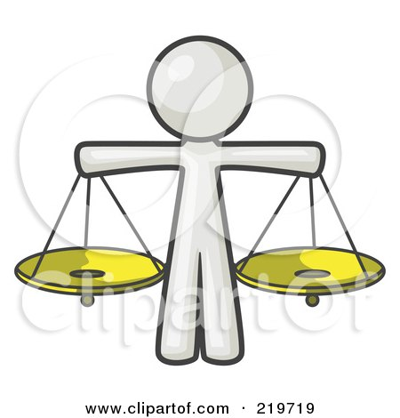 Royalty-Free (RF) Clipart Illustration of a White Man Scales Of Justice With Two Gold Scales by Leo Blanchette