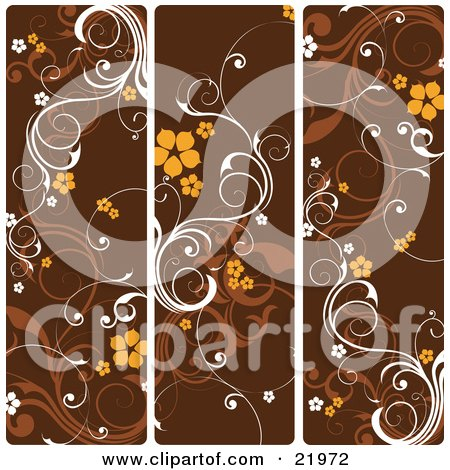 Three Frames Of White And Brown Vines With Orange Flowers Over Brown Posters, Art Prints