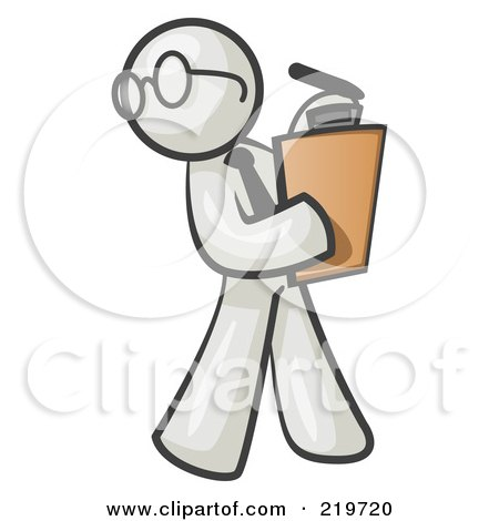 Royalty-Free (RF) Clipart Illustration of a White Man Holding a Clipboard While Reviewing Employess by Leo Blanchette