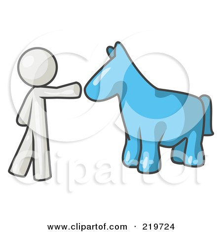 Royalty-Free (RF) Clipart Illustration of a White Man Petting A Blue Horse by Leo Blanchette