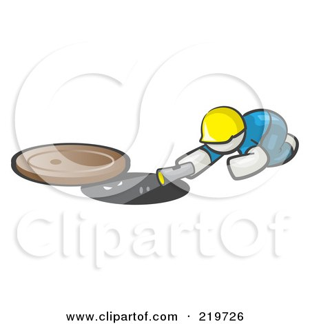 Royalty-Free (RF) Clipart Illustration of a White Man Design Mascot Sewer Worker Shining A Flashlight Down A Man Hole by Leo Blanchette