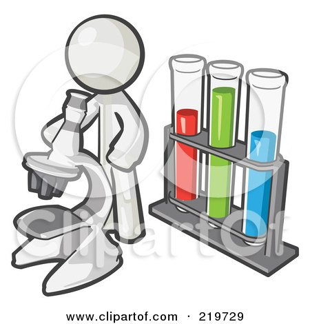 Royalty-Free (RF) Clipart Illustration of a White Man Scientist Using A Microscope By Vials by Leo Blanchette