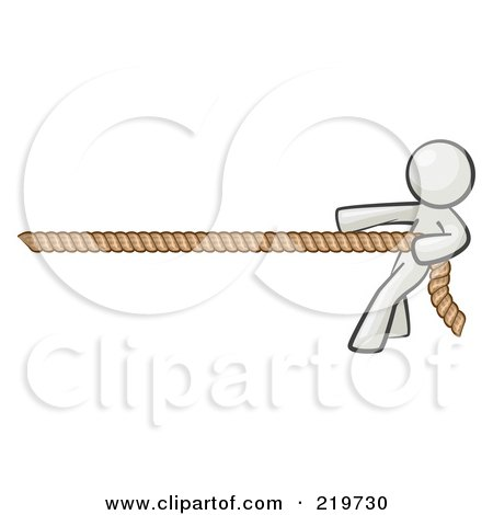 Royalty-Free (RF) Clipart Illustration of a White Design Mascot Woman Tugging On A Rope by Leo Blanchette