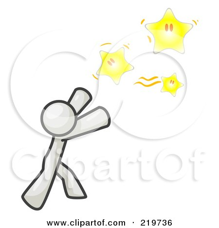 Royalty-Free (RF) Clipart Illustration of a White Man Reaching For the Stars by Leo Blanchette