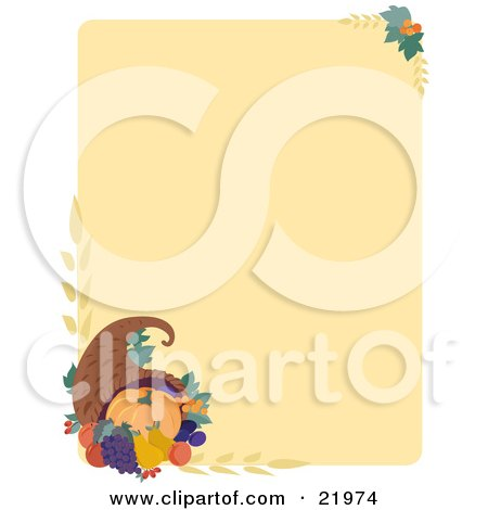 Clipart Illustration Picture of an Autumn Thanksgiving Stationery Background With A Pumpkin, Grapes And Pears In A Cornucopia With Wheat by Maria Bell