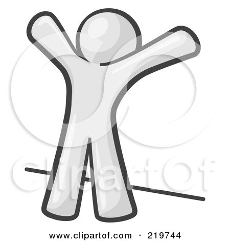 Royalty-Free (RF) Clipart Illustration of a White Man Up Against A Wall, His Arms Up, Prepared To Be Searched by Leo Blanchette
