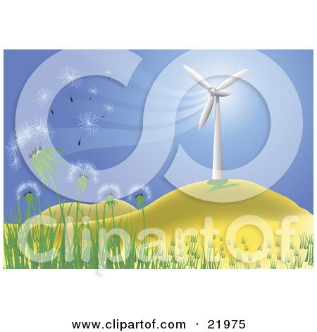 Wishy Blow Dandelions Being Blown In A Breeze Cast By A Wind Turbine On A Hilly Landscape Posters, Art Prints