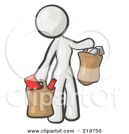 Royalty-Free (RF) Clipart Illustration of a White Woman Carrying Paper Grocery Bags by Leo Blanchette