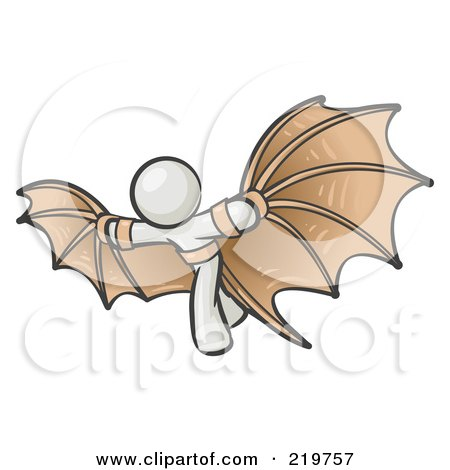 Royalty-Free (RF) Clipart Illustration of a Determined White Man Strapped In Glider Wings, Prepared To Make Flight by Leo Blanchette