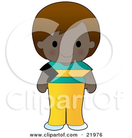Cute Bahamian Girl Wearing A Flag Of Bahamas Shirt Clipart Illustration by Maria Bell