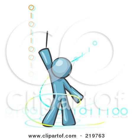 Royalty-Free (RF) Clipart Illustration of a Denim Blue Design Mascot Man Composing Binary Code by Leo Blanchette