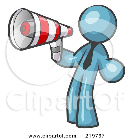 Royalty-Free (RF) Clipart Illustration of a Denim Blue Design Mascot Man Announcing With A Megaphone by Leo Blanchette