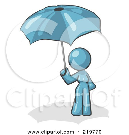 Royalty-Free (RF) Clipart Illustration of a Denim Blue Design Mascot Woman Under An Umbrella by Leo Blanchette