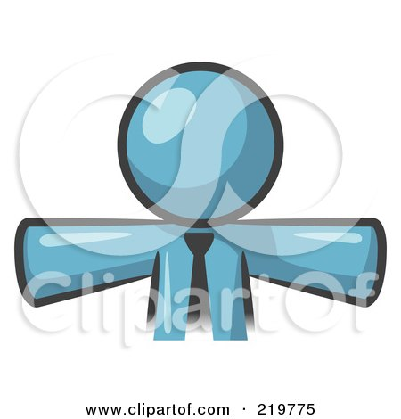 Royalty-Free (RF) Clipart Illustration of a Denim Blue Businessman Wearing A Tie, Facing Front And Holding His Arms Out At His Sides, Perhaps Ready To Hug Someone Or Symbolizi by Leo Blanchette