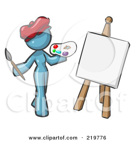 Royalty-Free (RF) Clipart Illustration of a Denim Blue Design Mascot Woman Artist Painting A Portrait by Leo Blanchette