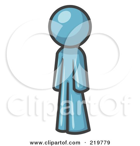 Royalty-Free (RF) Clipart Illustration of a Denim Blue Design Mascot Man Standing Up Straight by Leo Blanchette