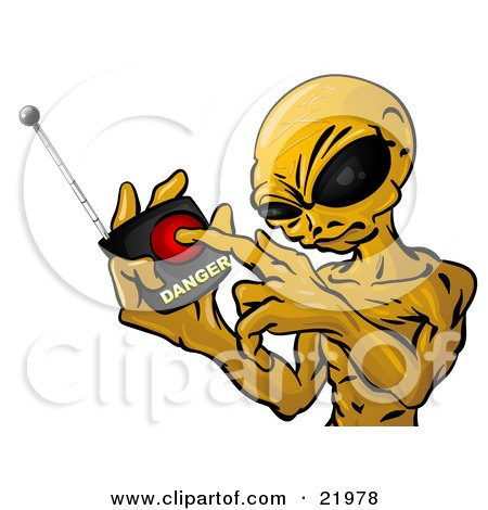 Clipart Picture Illustration of a Mean Green Alien With Big Black Eyes, Threatening To Push A Button On A Detonator To Blow Up Earth by Leo Blanchette