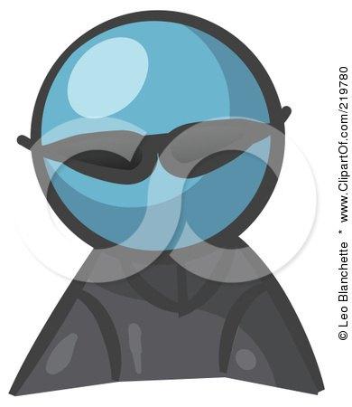 Royalty-Free (RF) Clipart Illustration of a Denim Blue Man Avatar Spy Wearing Shades by Leo Blanchette