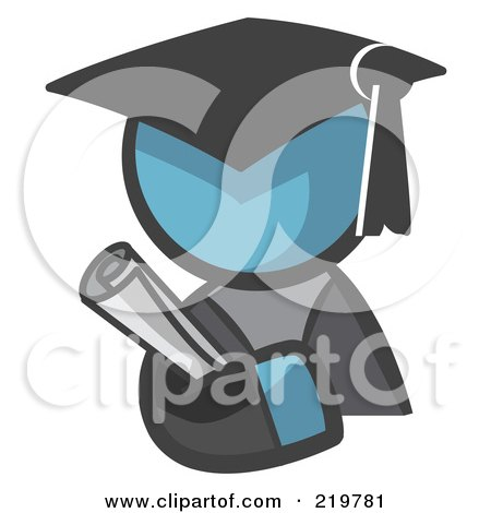 Royalty-Free (RF) Clipart Illustration of a Denim Blue Man Avatar Graduate Holding A Diploma by Leo Blanchette