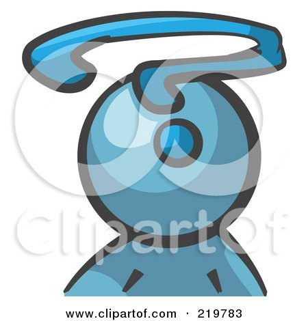 Royalty-Free (RF) Clipart Illustration of a Denim Blue Man Avatar With A Question Mark by Leo Blanchette