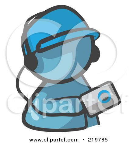 Royalty-Free (RF) Clipart Illustration of a Denim Blue Man Avatar Holding An Mp3 Player by Leo Blanchette