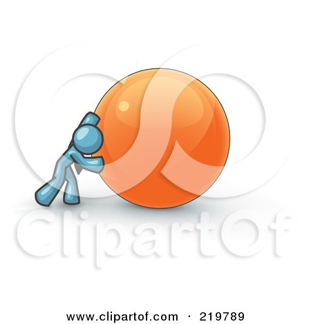 Royalty-Free (RF) Clipart Illustration of a Strong Denim Blue Business Man Pushing an Orange Sphere  by Leo Blanchette