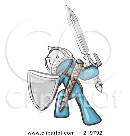 Royalty-Free (RF) Clipart Illustration of a Denim Blue Design Mascot Man Ultimate Warrior With A Sword And Shield by Leo Blanchette
