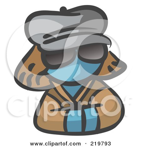 Royalty-Free (RF) Clipart Illustration of a Denim Blue Woman Avatar Incognito by Leo Blanchette