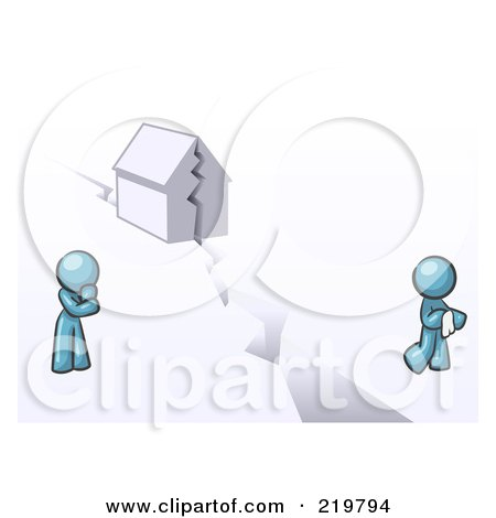Royalty-Free (RF) Clipart Illustration of a Denim Blue Design Mascot Man And Woman With A House Divided by Leo Blanchette