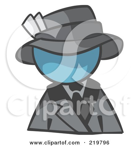 Royalty-Free (RF) Clipart Illustration of a Denim Blue Man Avatar Dressed For A Night On The Town by Leo Blanchette