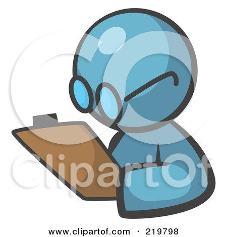 Royalty-Free (RF) Clipart Illustration of a Denim Blue Man Avatar Writing Notes On A Clipboard by Leo Blanchette