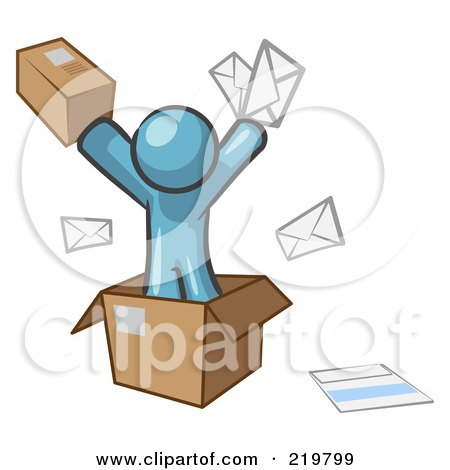 Royalty-Free (RF) Clipart Illustration of a Denim Blue Design Mascot Man Going Postal With Parcels And Mail by Leo Blanchette