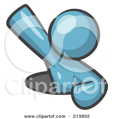 Royalty-Free (RF) Clipart Illustration of a Denim Blue Design Mascot Man Climbing Out Of A Man Hole by Leo Blanchette