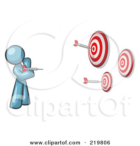 Royalty-Free (RF) Clipart Illustration of a Denim Blue Design Mascot Man Throwing Darts At Targets by Leo Blanchette