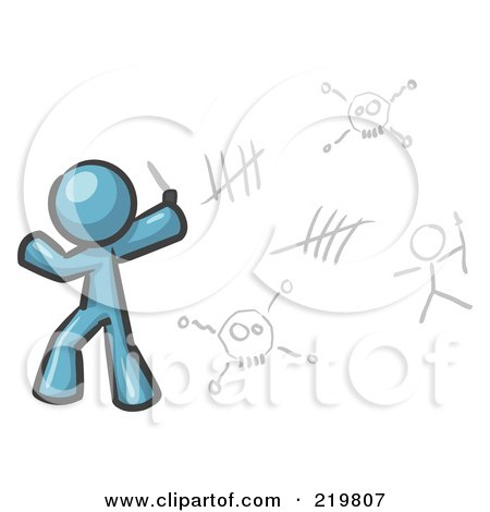 Royalty-Free (RF) Clipart Illustration of a Denim Blue Design Mascot Man Writing Tribal Designs On A Wall by Leo Blanchette