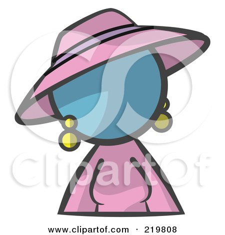 Royalty-Free (RF) Clipart Illustration of a Denim Blue Woman Avatar In A Dress And Hat by Leo Blanchette