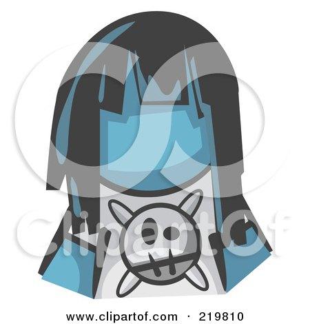 Royalty-Free (RF) Clipart Illustration of a Denim Blue Woman Avatar Grumpy Girl by Leo Blanchette