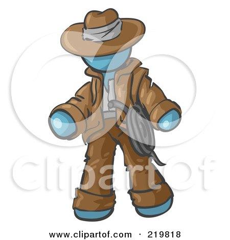 Royalty-Free (RF) Clipart Illustration of a Denim Blue Design Mascot Man Cowboy Adventurer by Leo Blanchette