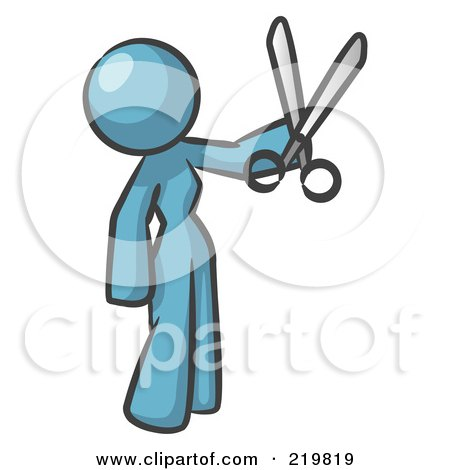 Royalty-Free (RF) Clipart Illustration of a Denim Blue Woman Standing And Holing Up A Pair Of Scissors by Leo Blanchette
