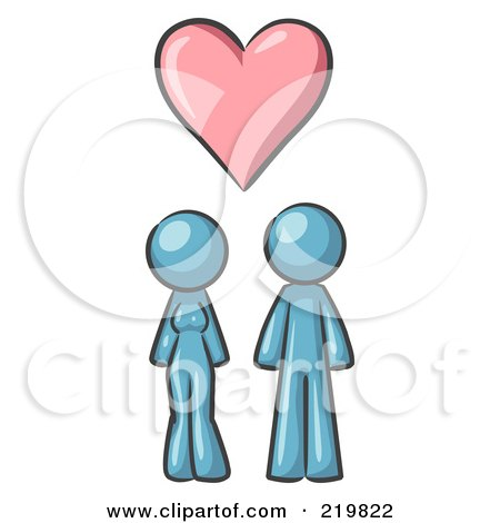 Royalty-Free (RF) Clipart Illustration of a Denim Blue Design Mascot Couple Under A Denim Blue Heart by Leo Blanchette