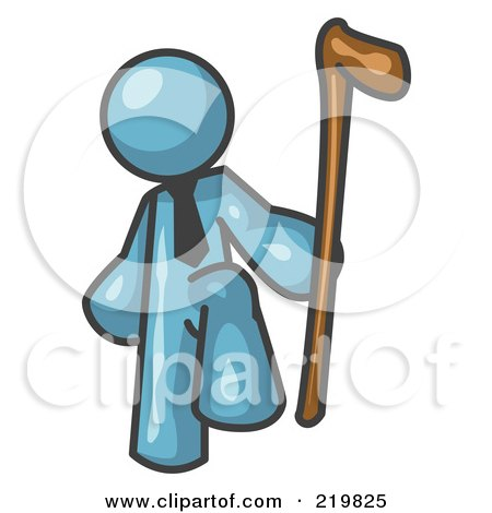 Royalty-Free (RF) Clipart Illustration of a Denim Blue Man Holding a Cane by Leo Blanchette