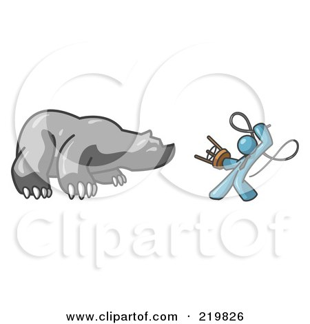 Royalty-Free (RF) Clipart Illustration of a Denim Blue Man Holding a Stool and Whip While Taming a Bear, Bear Market by Leo Blanchette
