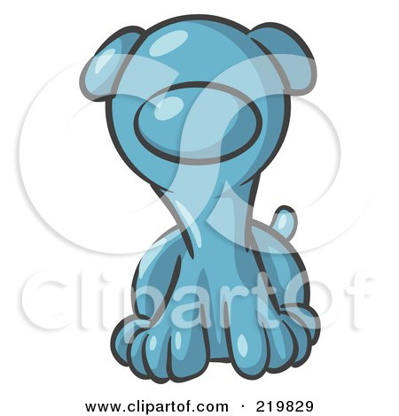 Royalty-Free (RF) Clipart Illustration of a Cute Denim Blue Puppy Dog Looking Curiously at the Viewer by Leo Blanchette