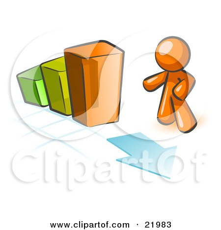 Orange Man Standing By An Increasing Green, Yellow And Orange Bar Graph On A Grid Background With An Arrow Posters, Art Prints