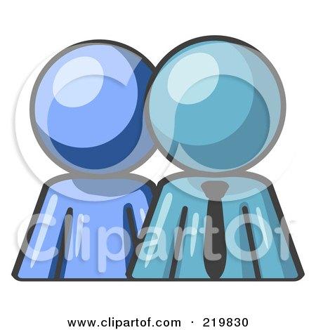 Blue person standing beside a denim blue businessman symbolizing