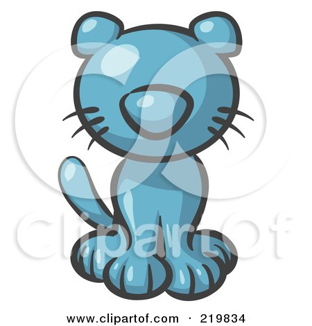 Royalty-Free (RF) Clipart Illustration of a Cute Denim Blue Kitty Cat Looking Curiously at the Viewer by Leo Blanchette