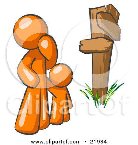 Clipart Picture Illustration of an Uncertain Orange Man And Child Standing At A Wooden Post, Trying To Decide Which Direction To Go At A Crossroads by Leo Blanchette