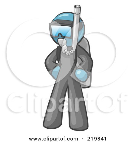 Royalty-Free (RF) Clipart Illustration of a Denim Blue Design Mascot Man In Scuba Gear by Leo Blanchette