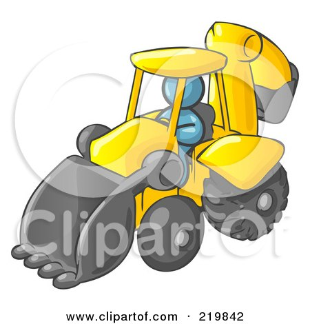 Royalty-Free (RF) Clipart Illustration of a Denim Blue Man Operating A Yellow Backhoe Machine At A Construction Site by Leo Blanchette